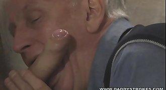 Daddy Sucking Big Cock Thru The Gloryhole