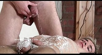 Boy bound in ropes on a table fucked