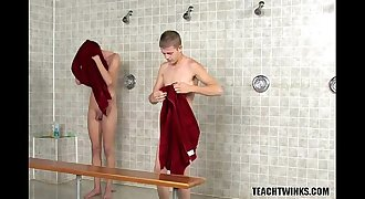 Taut Twinks Showering at School