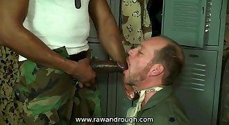 Big black cock fucks a thirsty white mouth