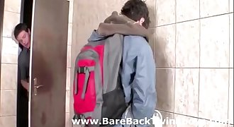 Gay deep throat for young twinks meeting in public toilet