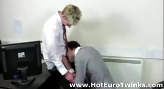 Gay blowjob for young European twinks in office